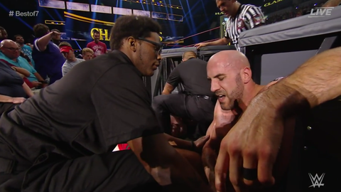 Cesaro and Sheamus' match ends in a no contest due to injury