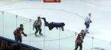 Hockey fan climbs over glass and runs around the ice like a madman
