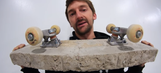 Watch a guy riding a skateboard made of solid concrete