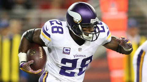 Adrian Peterson goes down
