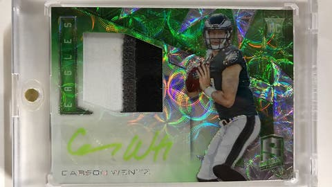 CARSON WENTZ 2016 Spectra Radiant Rookie GREEN Logo Patch Auto RPA 23/25 HOT!!!