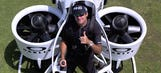 Bubba Watson one-ups his hovercart with a golf jetpack