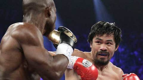 Manny Pacquiao, right, from the Philippines, and Timothy Bradley, from Palm Springs,