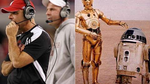 Heroes: Carl Pelini (left) and Bo Pelini as C-3P0 and R2-D2