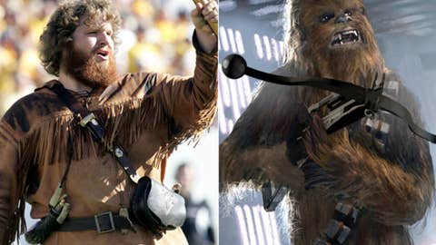Hero: The Mountaineer (West Virginia mascot) as Chewbacca