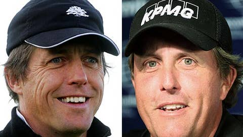 Hugh Grant and Phil Mickelson