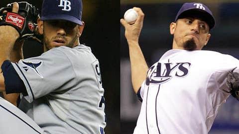 Slowing down: James Shields and Matt Garza, Rays