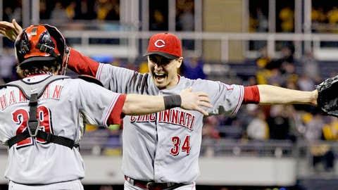 Cincinnati Reds starting pitcher Homer Bailey (34) celebrates with Cincinnati Reds catcher Ryan Hanigan