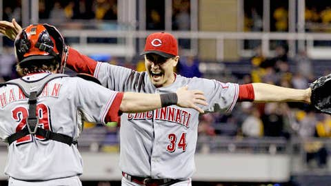 Cincinnati Reds starting pitcher Homer Bailey (34) celebrates with Cincinnati Reds catcher Ryan Hanigan