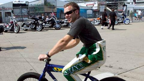 IndyCar driver Ed Carpenter rides his bike