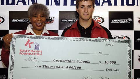 Kasey Kahne donates to a school