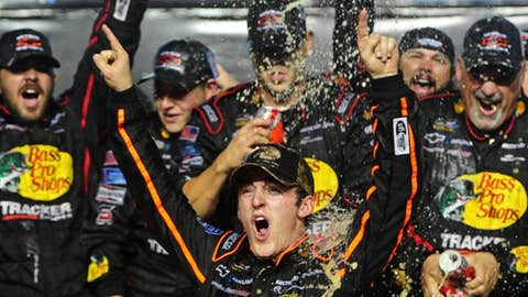 NASCAR Camping World Truck Series driver Austin Dillon celebrates