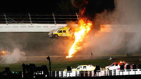 Image: A jet dryer bursts into flames after being hit by Juan Pablo Montoya at Daytona 500. (© Tom Pennington/AP)