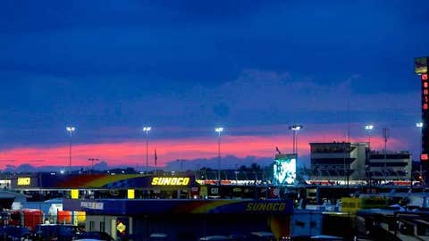 A general view as the sun sets during the Bojangles Southern 500 at Darlington Raceway.