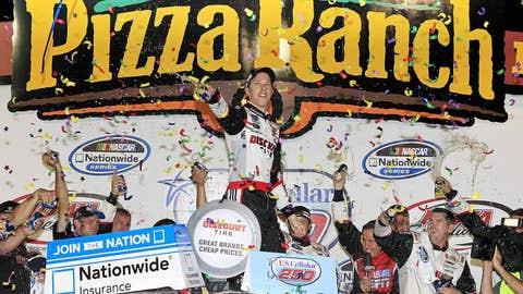 Brad Keselowski celebrates after winning the NASCAR Nationwide Series