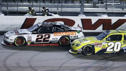 Brad Keselowski leads Brian Vickers during the NASCAR Nationwide auto race