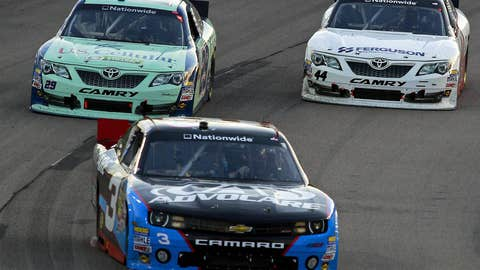 Austin Dillon leads a group of cars during the NASCAR Nationwide Series
