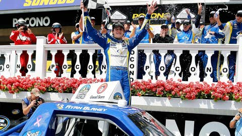 Ryan Blaney celebrates in Victory Lane after winning the NASCAR Camping World Truck Series