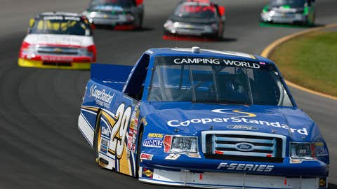Ryan Blaney leads the field during the NASCAR Camping World Truck Series