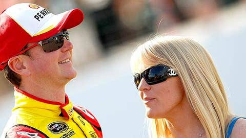 Kurt Busch (L) stands with Patricia Driscoll (R)