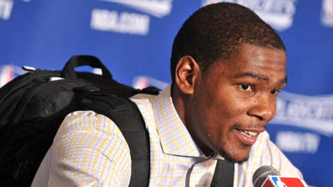 Kevin Durant #35 of the Oklahoma City Thunder talks in the press conference