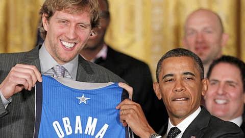 Dirk Nowitzki and Barack Obama