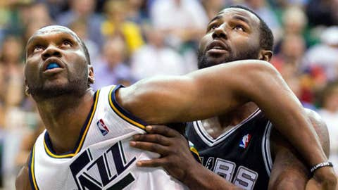 Utah Jazz center Al Jefferson (25) and San Antonio Spurs forward DeJuan Blair (45)