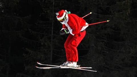 A forerunner dressed as Santa Claus