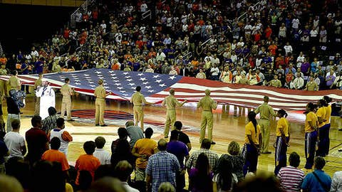 Petty Officer Steven Powell - US Navy performs the National Anthem before Game Two of the WNBA semifinal playoffs