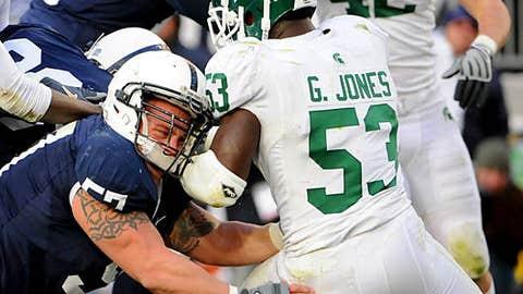 New England Patriots (via Raiders): Greg Jones, LB, Michigan State
