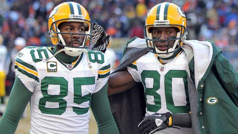 Wide receivers Greg Jennings #85, Donald Driver #80 and Jordy Nelson #87 of the Green Bay Packers