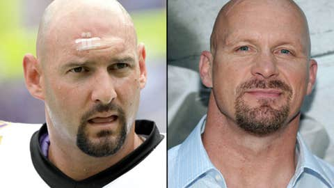 Chargers LB Jarret Johnson and wrestler Steve Austin