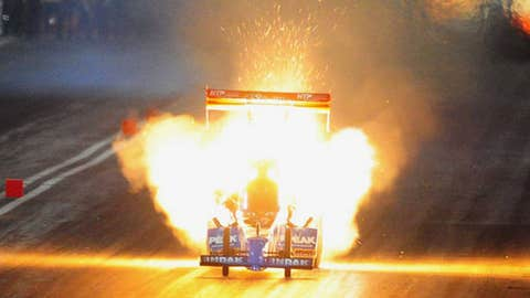 NHRA top fuel dragster driver T.J. Zizzo explodes an engine