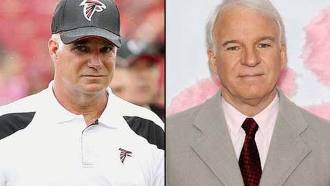 Falcons coach Mike Smith and actor Steve Martin
