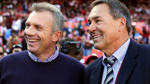 Joe Montana and Dwight Clark