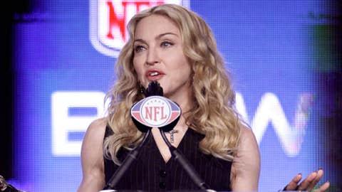 Madonna speaks during a news conference for NFL footbal's Super Bowl XLVI's halftime show