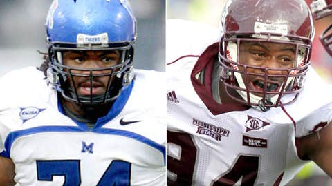 Defensive tackles: Dontari Poe (Memphis) and Fletcher Cox (Mississippi State)