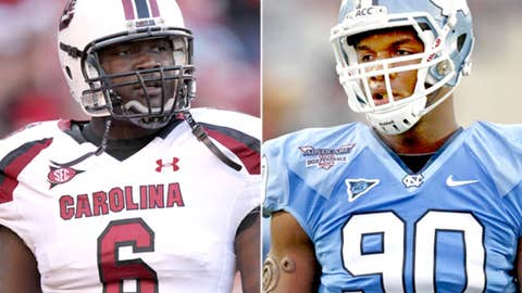 Defensive ends: Quinton Coples (North Carolina) and Melvin Ingram (South Carolina)