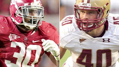 Inside linebackers: Luke Kuechly (Boston College) and Dont'a Hightower (Alabama)