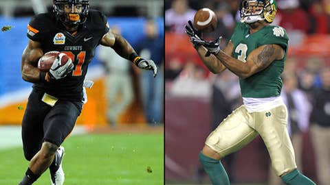 Wide receivers: Justin Blackmon (Oklahoma State) and Michael Floyd (Notre Dame)
