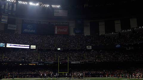 The Superdome is seen after the lights went out