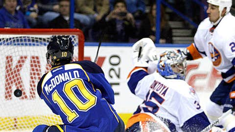 St. Louis Blues' Andy McDonald (10) scores a goal as he lifts the puck past New York Islanders goalie Al Montoya (35)