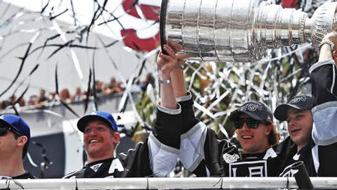 Los Angeles Kings hold the Stanley Cup