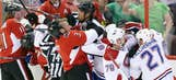 Fight photos from Game 3 of the Montreal Canadiens-Ottawa Senators series