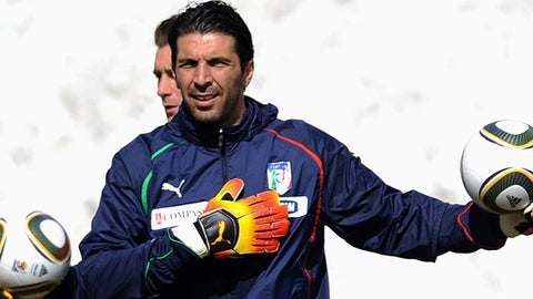 Gianluigi Buffon of Italy attends a team training session on May 26, 2010 in Sestriere, near Turin, Italy.