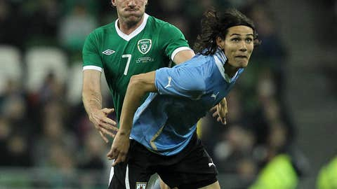 Republic of Ireland's Liam Lawrence (L)