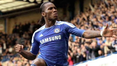 Chelsea's Didier Drogba celebrates his goal