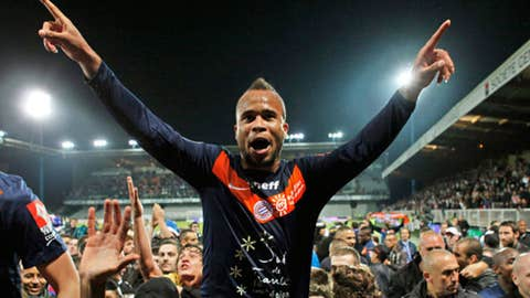 Montpellier's Garry Bocaly celebrates after his French League
