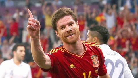 Xabi Alonso of Spain celebrates