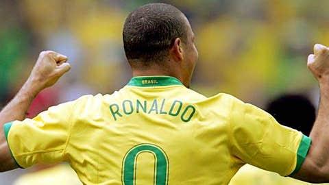 Brazilian forward Ronaldo celebrates after scoring